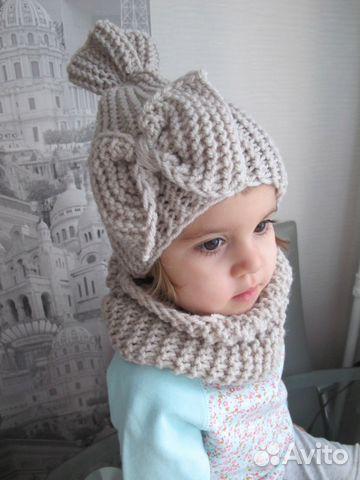 Детский вязанный шарф шапка