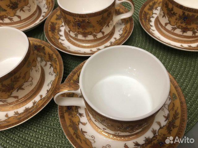 Набор фарфоровых чашек с блюдцами, новый (6 пар)