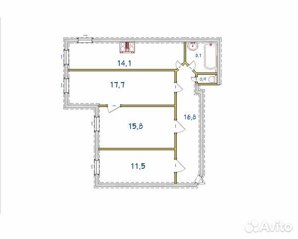 Продается трехкомнатная квартира за 8 500 000 рублей. Санкт-Петербург, Ижорская улица, 13/39.