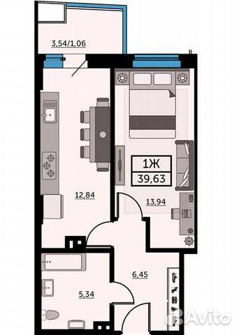 1-к квартира, 39.5 м², 14/26 эт. купить 1