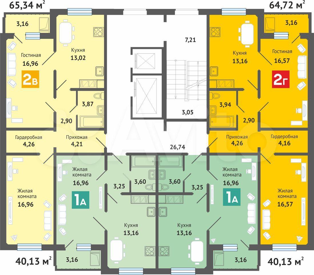 2-к квартира, 65.3 м², 4/10 эт.  89877210246 купить 10