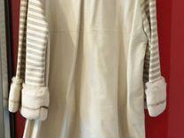 Кожаное белое пальто в отличном состоянии