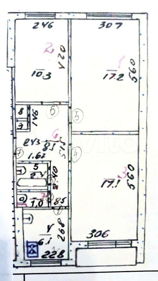 3-к квартира, 63 м², 2/5 эт.  89091715114 купить 1