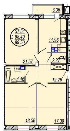 3-к квартира, 89.5 м², 5/9 эт.  89108271572 купить 2