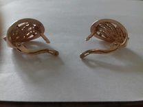 Серьги серебро с позолотой
