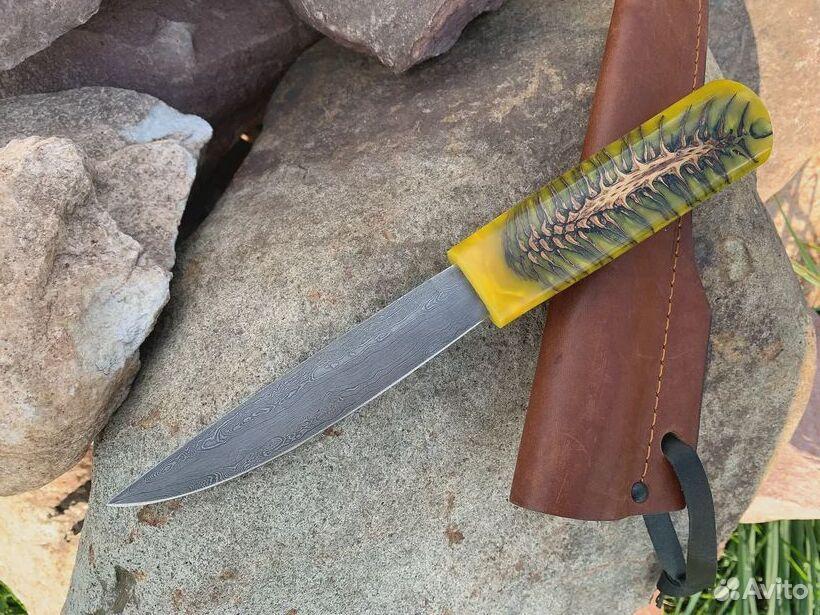 Якутский нож, сталь дамаск, рукоять акрил  89519097201 купить 2