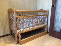 Кроватка детская с матрасом и балдахином